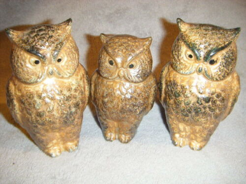 3 DETAILED OWL FIGURINES PAPA, MAMA & BABY JAPAN OWLS