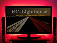 Tv Back Light- Television Led Light Strips In Red 60 Inches Of Leds