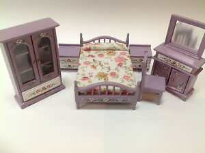 Details about 7-Piece purple girl Bedroom Set for dollhouse 1:12 miniature  baby room wood