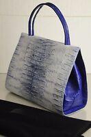 $4850 Nancy Gonzalez Ombre Royal Blue White Silver Crocodile Tote Frame Bag
