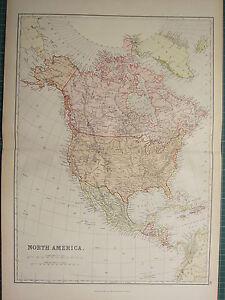1882 LARGE ANTIQUE MAP ~ NORTH AMERICA MEXICO CUBA JAMAICA UNITED STATES CANADA