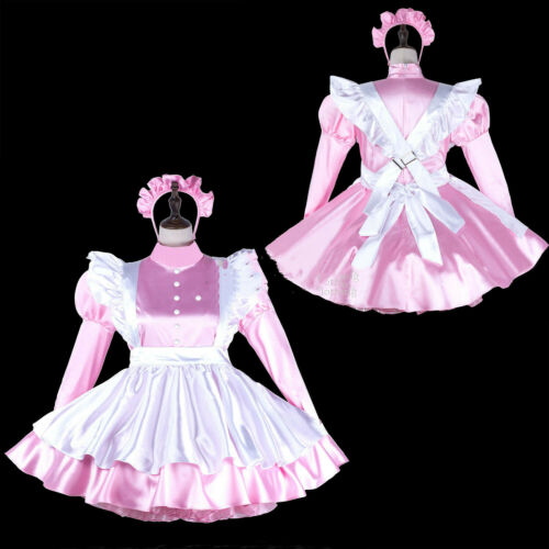 Sissy maid Pink satin dress cosplay costume Tailor-made