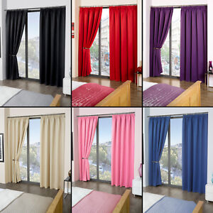 Image Is Loading Luxury Thermal Blackout Curtains Black Cream Pink Blue