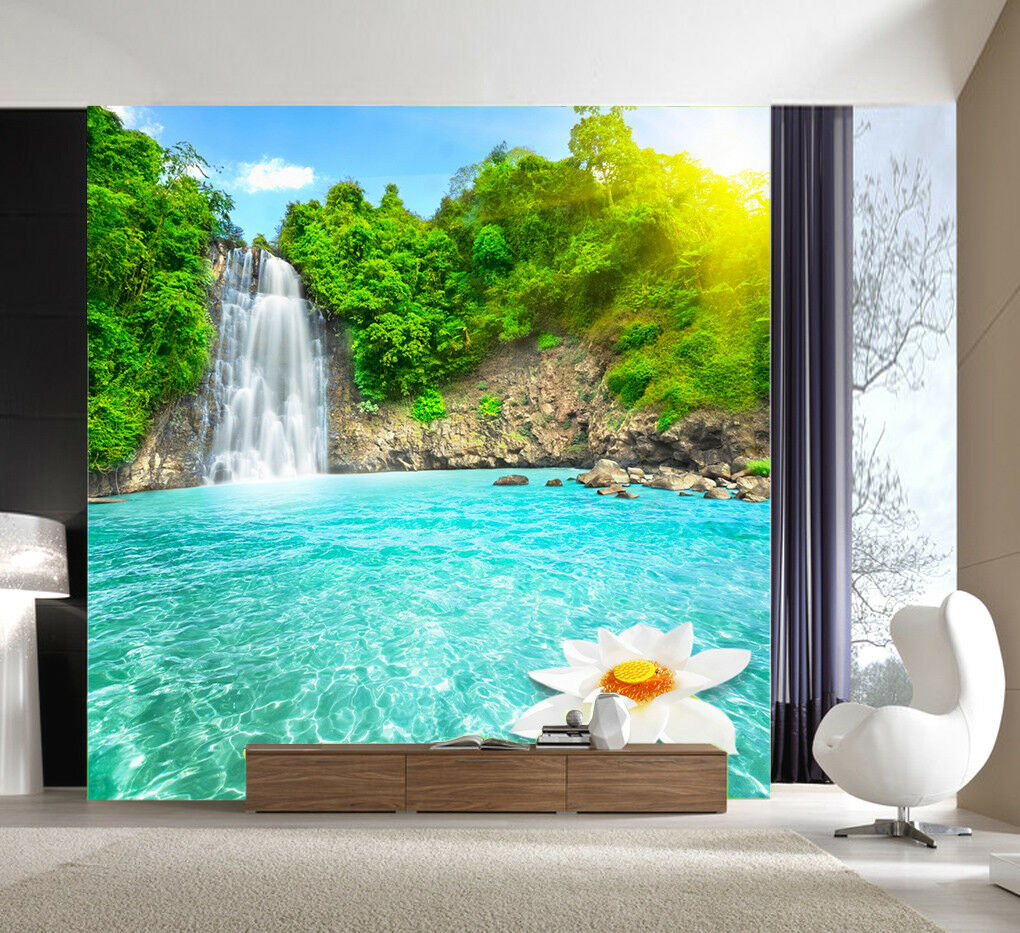 3D Sun Lotus Lake 853 Wall Paper Murals Wall Print Wall Wallpaper Mural AU Kyra