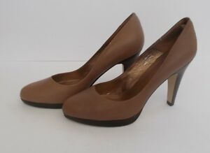 03779863a9 Women s Topshop Taupe Coffee Leather Stacked Heel Court Shoes Worn ...