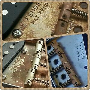 Relic-Fender-Telecaster-Tele-Vintage-ashtray-bridge-plate-complete-with-saddles