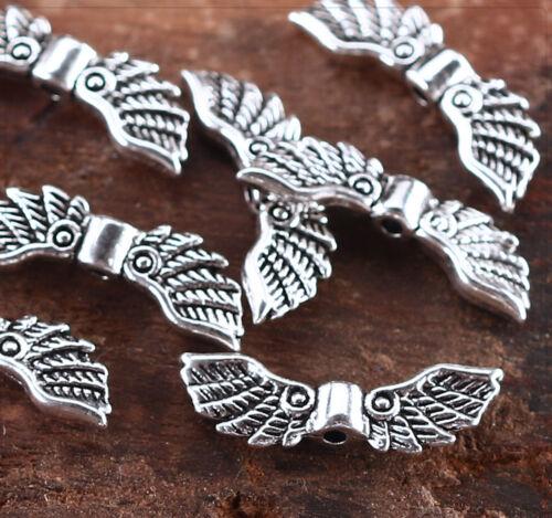 10x metal perlas spacer entre parte joyas DIY bricolaje alas 7x22mm ms498