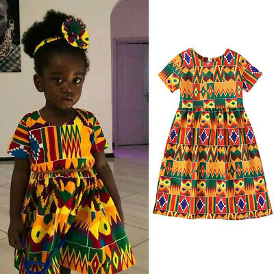 New Toddler Kid Baby Girl Summer Dashiki African Print Short Sleeve Dress Outfit