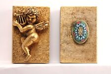 Lot of two brass Vintage Match Box holders Cherub Angel oval enamel adornment
