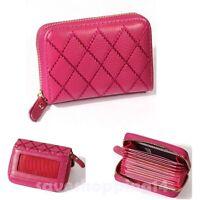 Women Leather Wallet Zip Around Rfid Blocking Credit Card Holder Protection Pink