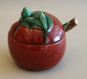 Sucrier-ancien-pot-a-sucre-en-ceramique-en-forme-de-pomme-rouge-avec-cuillere