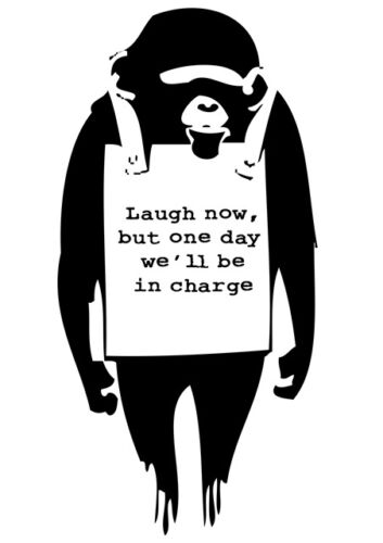 BANKSY Laugh Now A4 POSTER Graffiti Street Wall Art Print Popular Stencil Monkey