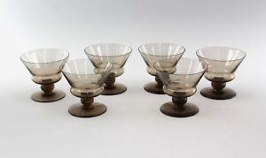 99835305  6 Gläser Daum Nancy um 1930 Rauchglas
