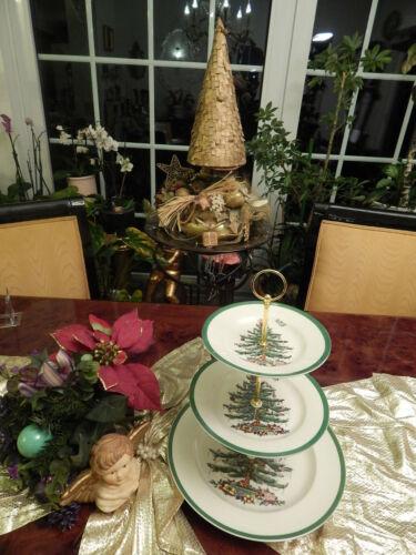 edle große Etagere Tafelaufsatz 3stufig Spode Christmas Tree Weihnachten