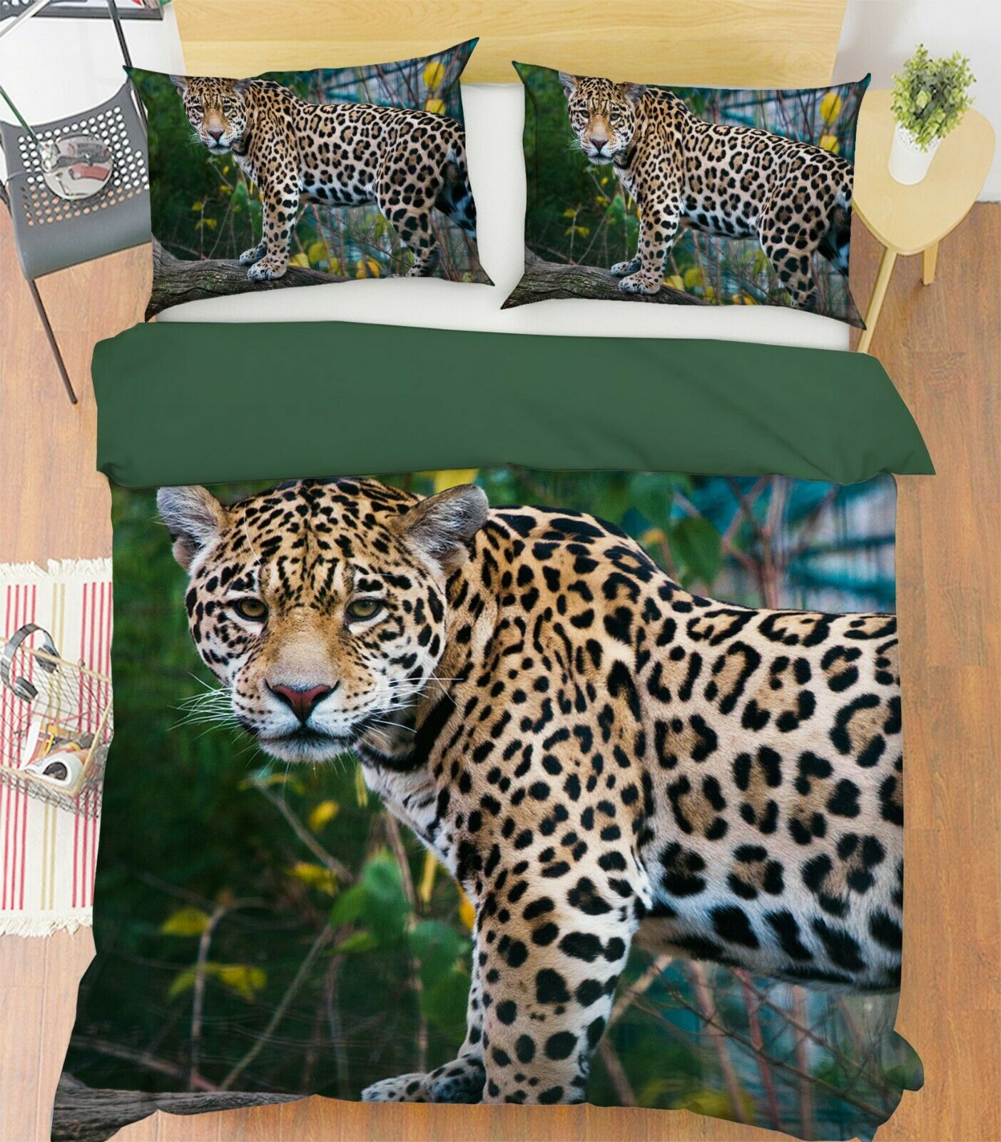 3D Leopard Tree P02 Animal Bed Pillowcases Quilt Duvet Cover Set Queen King Zoe