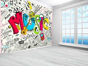 Image is loading Teenager-Music-graffiti-sketch-doodle-wallpaper-photo-wall-