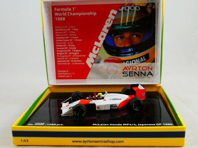 Minichamps Mclaren Honda MP4 4 Ayrton Senna WC 1988 Japan GP 1 43 lim. 1.988