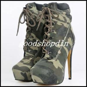 Vogue-Womens-Denim-Camo-High-Heel-Lace-Up-Knight-Ankle-Boots-shoes-Plus-Size-US