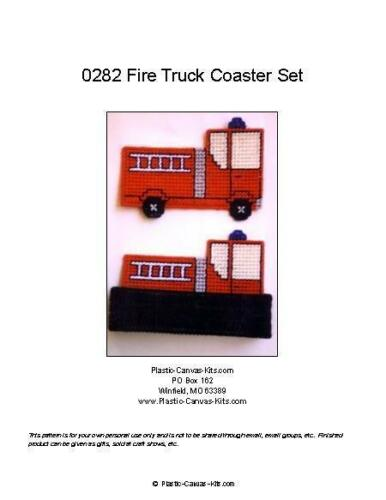 Fire Truck Coaster Set-Plastic Canvas Pattern or Kit