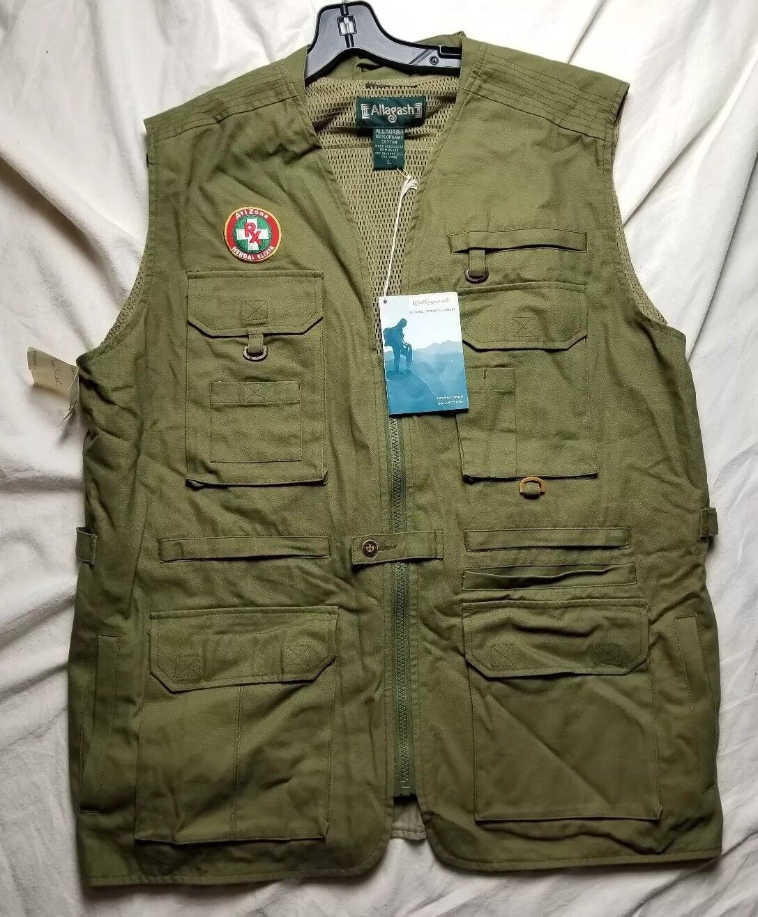 Allagash ARIZONA ICE TEA Photography Fishing Hiking Birding Vest Organic  LARGE