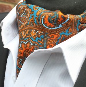 Soie Cravate Ascot. Quality Hand Made In Uk. Bleu & Orange Paisley Dbc05-16500-3-afficher Le Titre D'origine Exquis (En) Finition