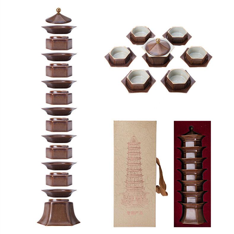 Creative Tea Set Pagoda Forme Décoration Porcelaine Gaiwan Tea Cups pour Voyage