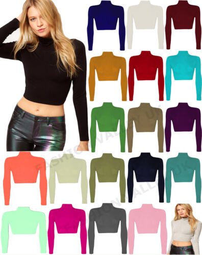 POLO NECK CROP TOP LADIES SHORT STRETCH LONG SLEEVE TURTLE ROLL NECK 8-14