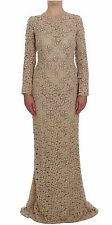 NWT $4000 DOLCE & GABBANA Dress Beige Floral Lace Sheath Maxi Full IT40 / US6/ S