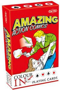 5 Amazing Comics Colour-In Playing Cards Colour-In Puzzles and Playing Cards