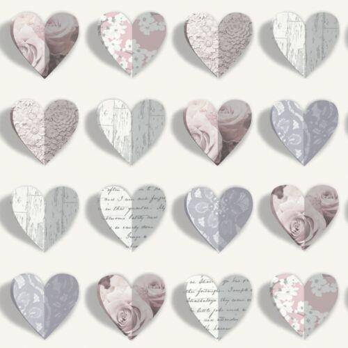 OLIVIA HEARTS WALLPAPER BLUSH ARTHOUSE 669701 PINK ROSES