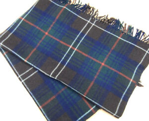 """Vintage Brown Red Green Plaid WOOL Throw Good For Upcycle Repurpose 58"""" x 68"""""""