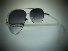 NEW GUESS GUF 224 SI-35A white aviator wrap shield sunglasses