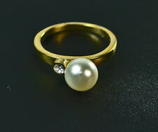 LADIES GOLDEN PEARL RING ENCRUSTED DIAMANTE BRAND NEW UNIQUE STATEMENT(ZX7)