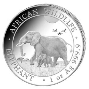 Silbermünze 1 oz Somalia Elefant 2022 in Stempelglanz