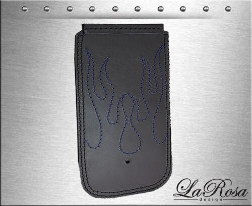 1984-1999 La Rosa Black Leather Blue Flame Stitch Harley Softail Dash Extension