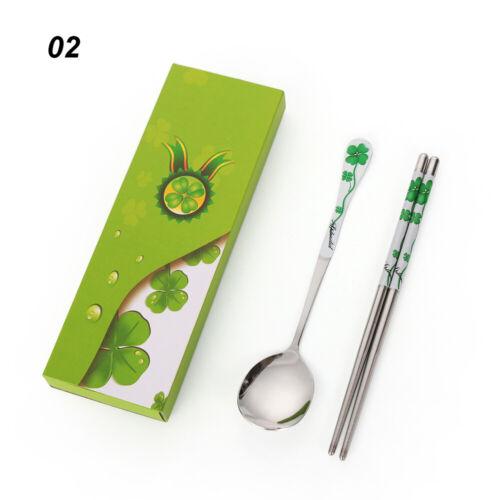 Korean Custom Portable Dinnerware Spoon Chopsticks Stainless Steel Cutlery Set