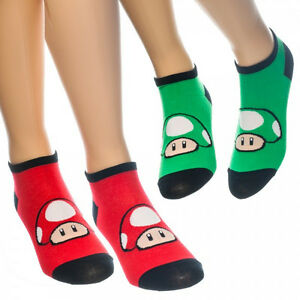 2-Pairs-LICENSED-Nintendo-SUPER-MARIO-RED-GREEN-MUSHROOM-ANKLE-SOCKS-Womens-CUTE