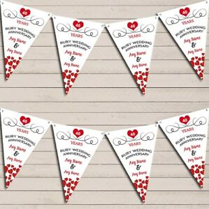 Hearts-Party-Decoration-Ruby-40th-Wedding-Anniversary-Bunting-Party-Banner