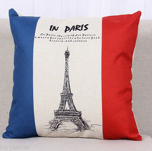 PARIS French FLAG Retro CUSHION COVER Natural Canvas Eiffel Tower Case UK Seller - <span itemprop=availableAtOrFrom>London, United Kingdom</span> - PARIS French FLAG Retro CUSHION COVER Natural Canvas Eiffel Tower Case UK Seller - London, United Kingdom