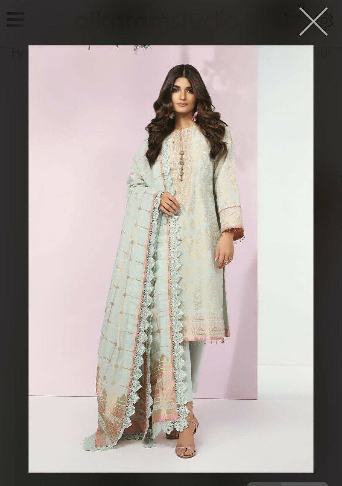 Pakistani Designer Suit By Al Karam - Stitched - Small Size