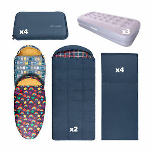 Silentnight Camping Bundle Family Pack Sleeping Bags Airbed Pillow Kids Adults