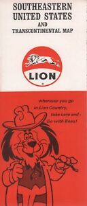 Details about 1969 Lion Road Map: Southeastern United States and  Transcontinental Map NOS