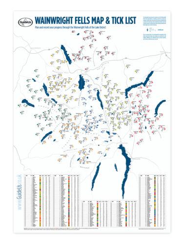 214 Wainwright Fells Map with Tick-List Guide Lake District Peak Bagging