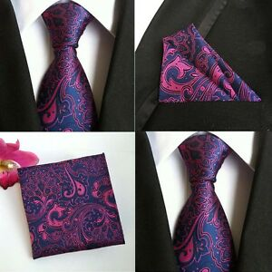 Men-Purple-Pink-Paisley-Flower-Silk-Tie-Pocket-Square-Handkerchief-Set-Lot-HZ081