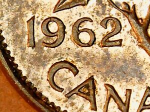 1962 Uncirculated Red-Brown Canadian Penny Double 62 Canada Cent