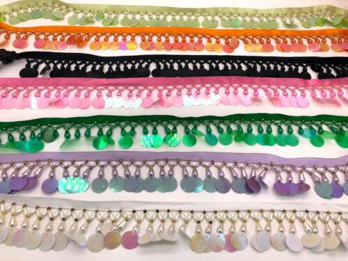 Many Colours Pearl Fringing Trim on Ribbon Stunning Beaded fringe with sequin