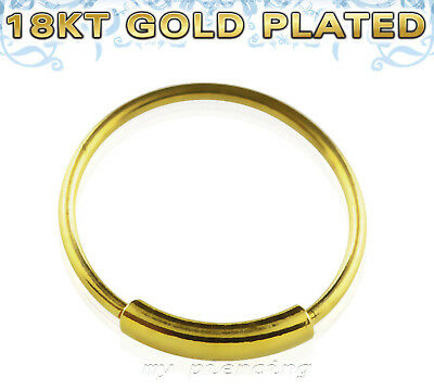 """Fashion Jewelry Candid 18k Gold Plated .925 Sterling Silver Endless Hoop Nose Ring 22g 1/4"""" 5/16"""" 3/8"""" Body Jewelry"""