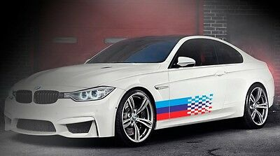BMW fading tail Flag M colors 2 pcs any models vinyl decal sticker 60'' x 13''
