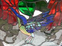 STAINED GLASS WINDOW PANEL SUNCATCHER ARTIST SIGNED HUMMINGBIRD