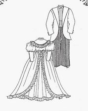 "10-11""ANTIQUE/MODERN MAN&LADY DOLL DRESSw/PUFF SLEEVE&JACKET/PANTS&SHIRT PATTERN"